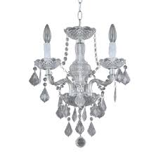 hampton bay maria theresa 3 light chrome and clear acrylic mini chandelier 1 of 4 see more