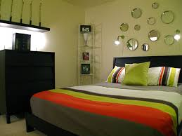 Bedroom: Couple Bedroom With Line Patterned Bed Cover And Pillows ...