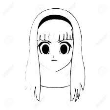 ストレートのロングヘアのアニメやマンガのアイコン画像ベクトル イラスト デザインとかわいい若い女の子
