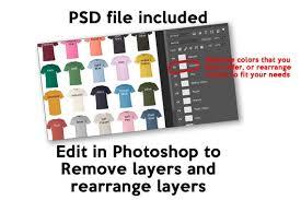 Comfort Colors 1717 Color Chart Digital File Garment Dyed Heavyweight T Shirt Color Guide Psd Jpeg Jpg Photoshop Tshirt Color Guide