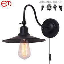 Vintage Plug In Lights Us 19 7 30 Off Retro Ancient Vintage Led Wall Lamps Personalized Ufo Black Shade Antique Wall Light Fixture Modern Indoor Lighting Zxx0014 In Led