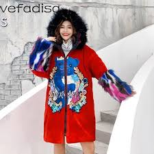 officially vefadisa winter sequin cartoon long coat red velour hooded trench coat fur hat zipper parkas