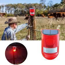 Motion Light With Alarm 6 Led Solar Alarm Red Lamp Motion Sensor Warning Sound Light Waterproof For Garden Factory Warehouses