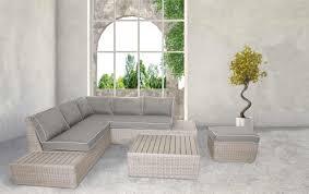Lounge Set Aus Creme Grauen Polyrattan 4 Tlg Kaufen Bei