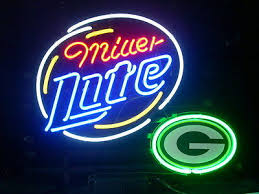 Miller Lite Packers Neon Sign New Miller Lite Beer Green Bay Packers Real Glass Neon Sign 24x24 17