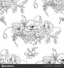 Naadloze Patroon Met Poppy Bloemen Narcis Anemone Violet In