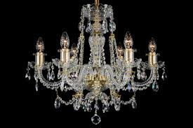 6 light classic georgian style chandelier in brass with gold candle sleeves