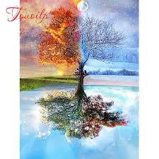 <b>100</b>% <b>Full</b> square <b>DIY 5D</b> Diamond Painting Seasons Tree Cross ...