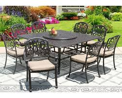 elisabeth cast aluminum outdoor patio 9pc set 8 dining chairs 65 inch square table series 5000 35 lazy susan with sunbrella sesame linen cushion zenpatio