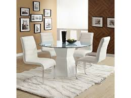 mauna tempered glass top round dining table set
