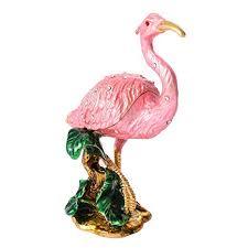 QIFU <b>Vintage</b> Hand Painted Flamingo Hinged Jewelry <b>Trinket</b> Box