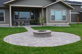 round paver patio fire pit walkway as well as full landscape installation