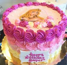 Pink Ombre Kids Birthday Cake With Sleeping Beauty Cake 186