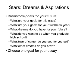 goal essay stars dreams aspirations brainstorm goals for your stars dreams aspirations brainstorm goals for your future what are your goals