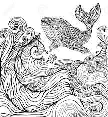 Whale And Ocean Waves Coloring Page For Children And Adults