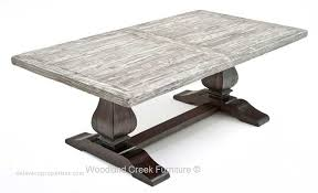 Classic home furniture reclaimed wood Vintage Rustic Trestle Base Table Reclaimed Wood Tuscan Old Image Fromwoodlandcreekfurniturecom Old World Dining Table Delavaco Propeties Classic Home Furniture Reclaimed Wood Delavaco Propeties