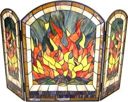 stained glass fireplace screen fire pattern kits decor