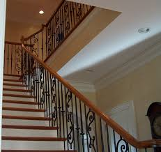 Wrought iron stair railing Curved Wrought Iron Stair Railwood Hand Cap sr29 Southeastern Ornamental Iron Stair Rails