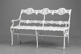 white iron garden furniture. Garden Bench - 19th Century White Painted Swedish Cast Iron With Floral Motif Furniture I