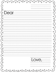 Primary Letter Writing Paper Friendly Letter Template Printable Kids Templates Format