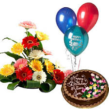 birthday cake and balloons and gifts. Modren Gifts 3 Balloons 12 Kg Chocolate Cake  12 Mix Gerberas Basket Throughout Birthday And Balloons Gifts