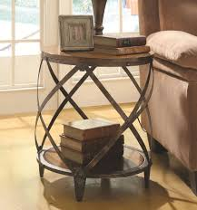 wood end tables. Round Rustic Metal \u0026 Wood End Table Tables