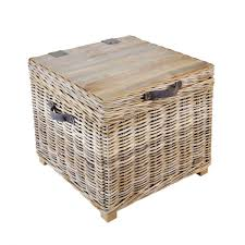 rattan storage trunk side table with