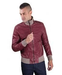er red purple vintage effect lamb leather jacket wool contrasting
