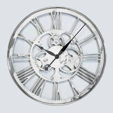 gear wall clock chrome small wall