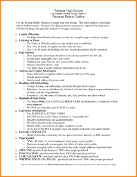 Resumes Outline High School Resume For College Application Template Example