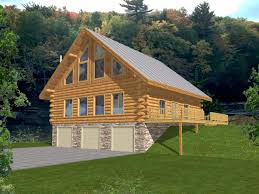 Log Home Style Cabin Design Coast Mountain Homes Architecture - House with basement garage
