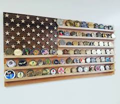 united states wood flag challenge coin holder cherry maple and walnut wall mounted military
