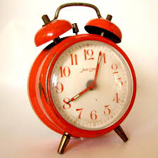 two bell top vintage alarm clock jerger germany red orange loading zoom