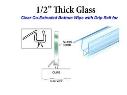 co extruded bottom wipe with drip rail for 1 2 inch glass clear shower door seal