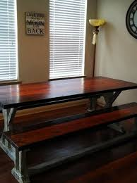 finished custom farm table with benches finds its forever home notice how closely the