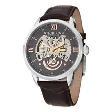 stuhrling watch stuhrling 574 03 executive ii automatic skeleton dial leather strap mens watch