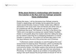 write about holdens relationships females in the catcher in  document image preview