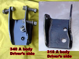 340 engine mounts for a bodies only mopar forum the mount on the right is a factory mother mopar bona fide 318 a body mount it is what you will if you are lucky enough to get an nos one somewhere