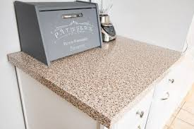 contact paper kitchen counter with bread box and blender on countertop