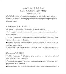 Sample Resume Of A Cashier Cashier Resume Template Free Samples