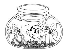 Small Picture Fish with Long Tail in Fish Bowl Coloring Page Download Print