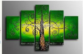 mirror wall decor circle panel: abstract wall decor  hand painted modern abstract green canvas art tree of life oil painting  panel wall decor