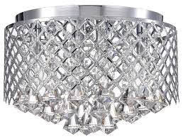 4 lights chrome lattice crystal flushmount chandelier