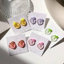 <b>Korean Cute</b> Blue Red Pink Purple Plush Ball Stud <b>Earrings</b> Heart ...