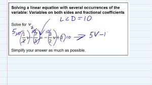 aleks solving a linear equation with variables on both sides and fractional coefficients