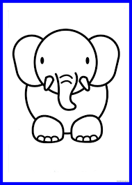 Elephant Drawing Easy Cute Step By Step