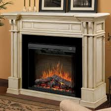 image of stylish rustic electric fireplace