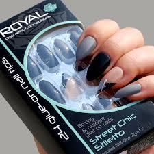 Royal Umělé Nehty šedé Tělové A černé S Kamínky Nalepovací S Lepidlem Street Chic Stiletto 24 Glue On False Nails Tips 24ks S Lepidlem 3g