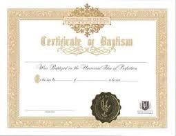 Baptism Certificate Certificate Of Baptism Universal Life Church