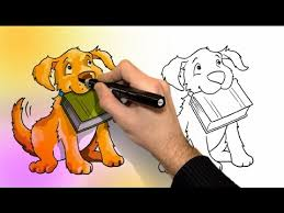 Small Picture How to draw and color a DOG for kids Coloring Video Learning
